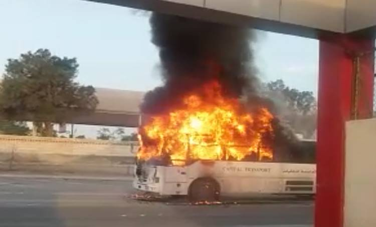 indian school, bus, fire, manama,bahrain,