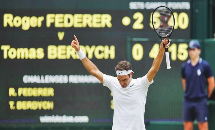 Roger Federer, Wimbledon 2017 final, Tomas Berdych, Tennis, Indian Express, mens singles final, Sports, Tennis News, വിംബിൾഡൻ, റോജർ ഫെഡറർ, ഗ്രാന്റ്സ്ലാം കിരീടം,