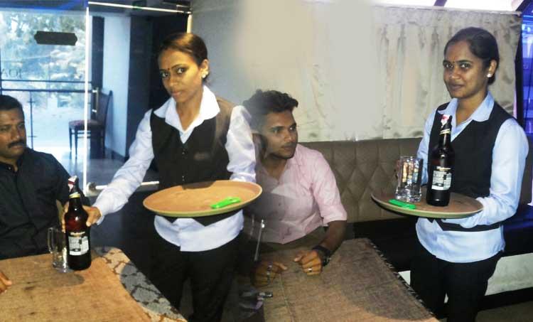bar, women waiters, serve, thodupuzha, bar kerala,