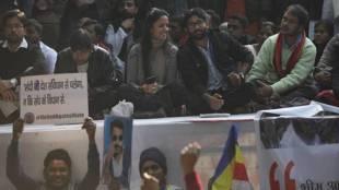 Jignesh Mevani, Shehla Rashid, Kanhaiya Kumar at the Parliament Street-Abhinav Saha