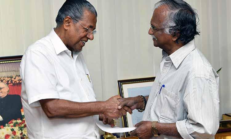 Kerala Rains Sreekumaran Thampi donates one lakh from J C Daniel Award Cash prize to CM relief fund