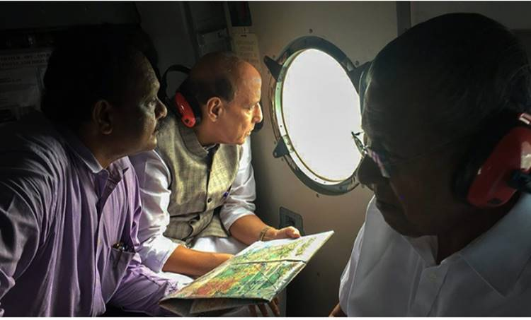 Kerala Floods:Kochi Union Home Minister Rajnath Singh conducted an aerial survey of flood-affected areas of Kerala on August 12 HMO Twitter Photo via PTI