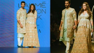 Neha Dhupia Angad Bedi walk the ramp for Payal Kapadia at Lakme Fashion Week