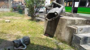 Gandhi Statue, Gandhi Statue In Ernakulam, Ernakulam Gandhi Bhavan, ഗാന്ധി പ്രതിമ, എറണാകുളത്തെ ഗാന്ധി പ്രതിമ, ഗാന്ധി പ്രതിമ തകർത്തു