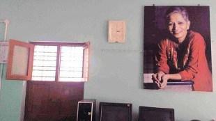 Gauri Lankesh portrait at the office of Nyaya Patha in Bangalore