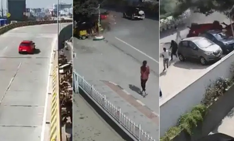 Hyderabad accident, ഹൈദരാബാദ് അപകടം, Hyderabad car falls off flyover, കാർ ഫ്ലൈഓവറിൽ നിന്ന് താഴെ വീണു, Hyderabad accident one dead, Hyderabad flyover car, India news, Indian express, iemalayalam, ഐഇ മലയാളം