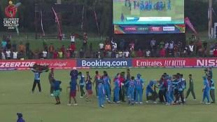 india vs bangladesh fight, india vs bangladesh u19 world cup,U 19 Cricket, അണ്ടർ 19 ക്രിക്കറ്റ്, U 19 Cricket World Cup, India vs Bangladesh, അണ്ടർ 19 ക്രിക്കറ്റ് ലോകകപ്പ്, IE Malayalam, ഐഇ മലയാളം, india vs bangladesh u19 world cup fight, ind vs ban, cricket news