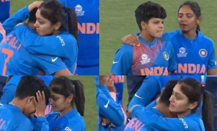 Shafali Verma, Shafali Verma crying, ഷഫാലി, Shafali verma emotional, ഇന്ത്യൻ ക്രിക്കറ്റ്, വനിത ടി harmanpreet kaur, harleen deol, harleen deol consoling shafali verma, Women's T20 World Cup final,വനിത ടി20 ലോകകപ്പ്, India women vs australia women, Shafali verma world cup