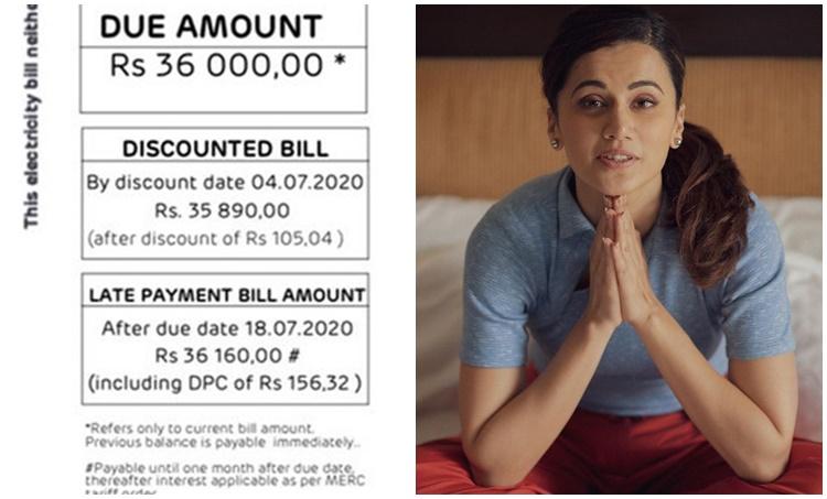 taapsee pannu, taapsee pannu insta, electricity bill, vir das, Renuka Shahane, Neha Dhupia, electricity bills, mumbai electricity bills