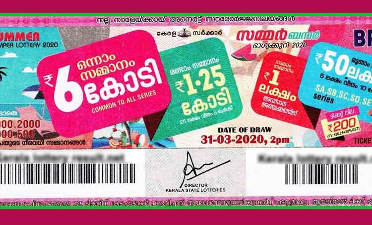 Summer bumper result 2020, Kerala Bumper Lottery