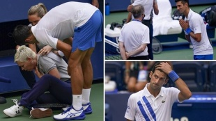 Novak Djokovic, Novak Djokovic US Open 2020, Novak Djokovic disqualified, Djokovic hits line judge video, Djokovic us open video, Djokovic tennis, Djokovic us open default, tennis news