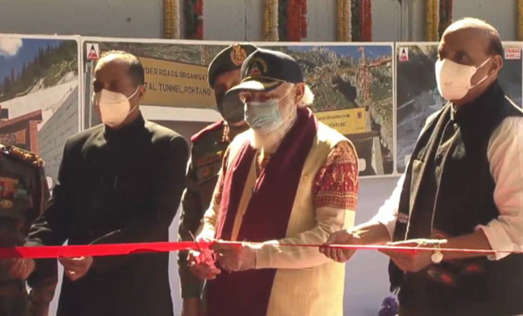atal tunnel inauguration, prime minister narendra modi, rohtang tunnel launch photos, atal tunnel photos, rajnath singh, himachal pradesh tourism, rohtang pass, india news, indian express, malayalam news, malayalam latest news, ie malayalam