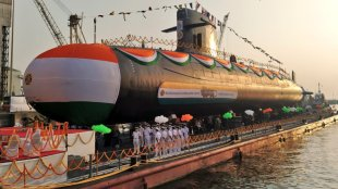 vagir launched, indian navy submarine launched, scorpene class submarine launched, indian express, ie malayalam
