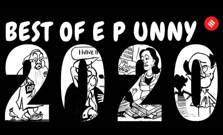 E P Unny, E P Unny cartoons, best cartoons of 2020, narendra modi, coronavirus lockdown, us elections 2020, joe biden, kamala harris, love jihad law, caa protests, covid vaccine, bihar elections, new parliament building, indian express cartoons