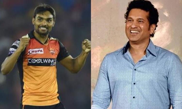 Sandeep Sharma and Sachin Tendulkar