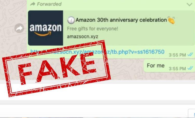 WhatsApp Amazon message, Amazon free gift WA message, Amazon free gift message, Amazon free gift scheme, Amazon WhatsApp fake message, Fake messages, Fraud messages, Spam messages, ആമസോൺ, ആമസോൺ വാർഷികം, സമ്മാനം, തട്ടിപ്പ്, ie malayalam