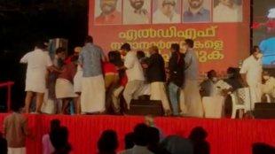 Kerla Election, Baby John, Thrissur, LDF Stage, LDF Program, Baby John Stagee Attack, Attack, Attack Against baby john, LDF, CPM, Kerala Election 2021, Kerala Assembly Election 2021, തിരഞ്ഞെടുപ്പ്, എൽഡിഎഫ്, ബേബി ജോൺ, ബേബി ജോൺ ആക്രമണം, തൃശൂർ, എൽഡിഎഫ് തൃശൂർ, തൃശൂർ ബേബി ജോൺ, എൽഡിഎഫ് സ്റ്റേജ്, എൽഡിഎഫ് പരിപാടി, ബേബി ജോണിന് നേർക്ക് കയ്യേറ്റം, ie malayalam