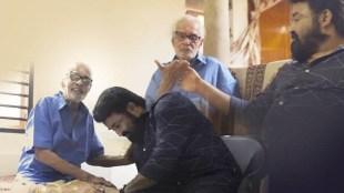 Mohanlal, Artist Namboodiri , Mohanlal Artist Namboodiri photo, Mohanlal Artist Namboodiri short film, Two legends and a painting, Akhil Sathyan, മോഹൻലാൽ ആർട്ടിസ്റ്റ് നമ്പൂതിരി, Indian express malayalam, IE malayalam
