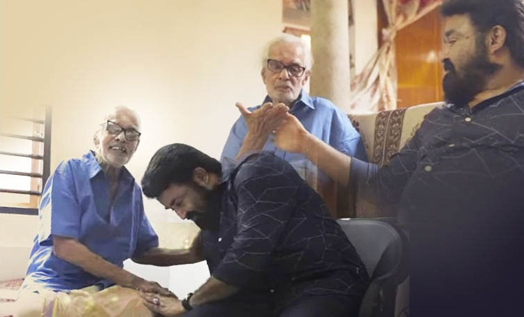 Mohanlal, Artist Namboodiri , Mohanlal Artist Namboodiri photo, Mohanlal Artist Namboodiri short film, Two legends and a painting, Akhil Sathyan, മോഹൻലാൽ ആർട്ടിസ്റ്റ് നമ്പൂതിരി, Indian express malayalam, IE malayalam