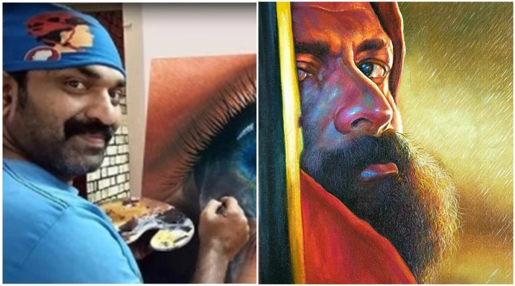 Kottayam Nazeer, Jayasurya, Manoj K Jayan, Kottayam Nazeer Digambaran painting, കോട്ടയം നസീർ, Kottayam Nazeer photos, Kottayam Nazeer paintings, Indian express malayalam, IE Malayalam