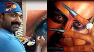 Kottayam Nazeer, Manoj K Jayan, Kottayam Nazeer Digambaran painting, കോട്ടയം നസീർ, Kottayam Nazeer photos, Kottayam Nazeer paintings, Indian express malayalam, IE Malayalam