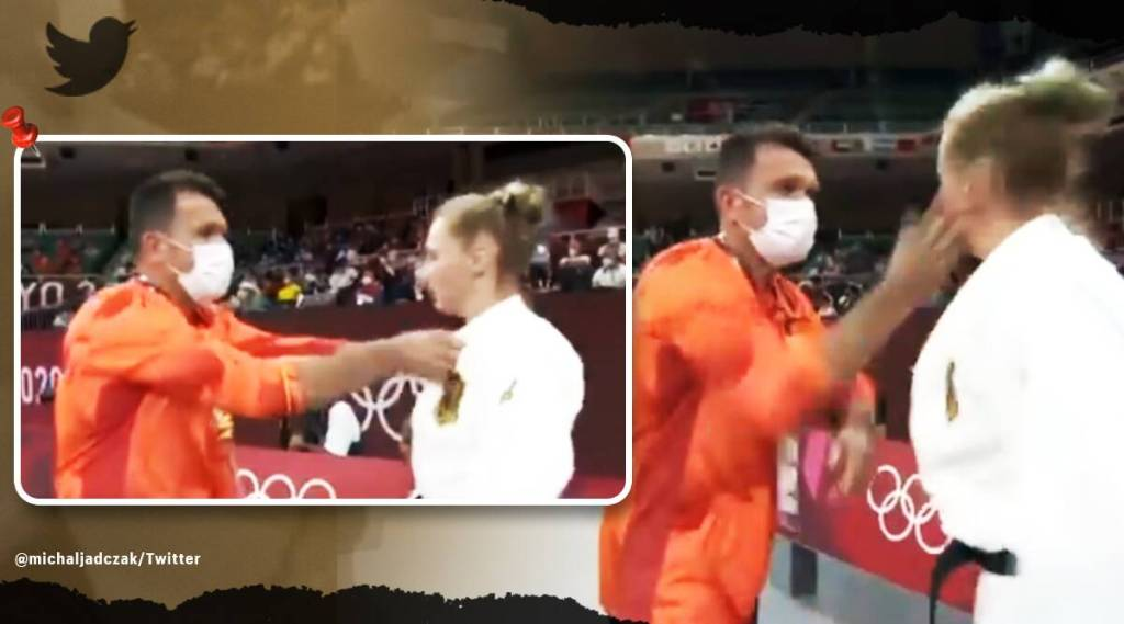 Tokyo Olympics, Tokyo Olympics judo coach viral video, Olympic coach slapped German athlete on live TV, Martyna Trajdos, trending. indian express, indian express, malayalam