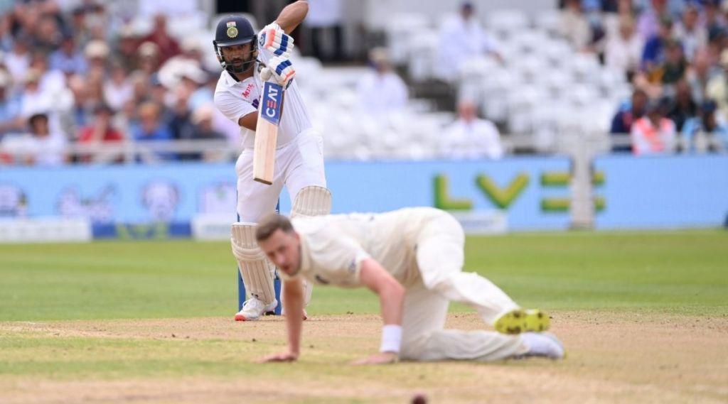 Rohit Sharma, Rohit Sharma pull shot, Rohit Sharma Ollie Robinson, india vs england nottingham test, day 3 india vs England, ie malayalam