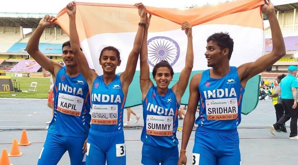 india athletics relay bronze, india relaty team, india athletics junior championships, athl;etics junuor world championship, ie malayalam