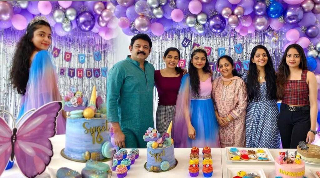 Ahaana Krishna, Hansika Krishna birthday cake, Hansika Krishna birthday celebration, Ahaana Krishna photos, Ahaana Krishna video, Hansika Krishna, Ahaana krishna sisters, Krishnakumar family, Ahaana sisters dance, Krishnakumar family tiktok video